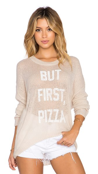 The Laundry Room But first, pizza beach bummies sweater in beige