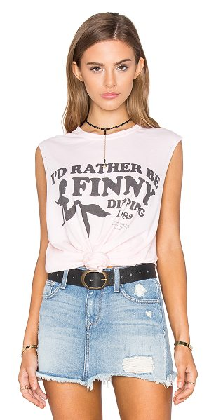 The Laundry Room Finny Dipping Muscle Tee in pink - 60% cotton 40% poly. Front graphic print. Distressed...