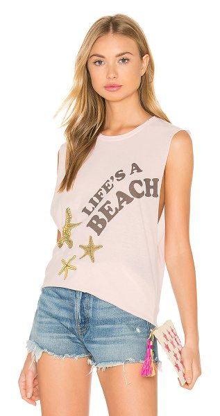 The Laundry Room Life's A Beach Tank in pink - 60% cotton 40% poly. Front graphic print. Raw cut edges....