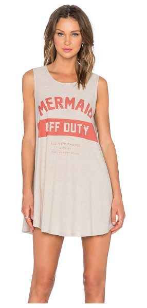 The Laundry Room Mermaid off duty uniform dress in beige - Front graphic print. Intentionally pilled slub knit...