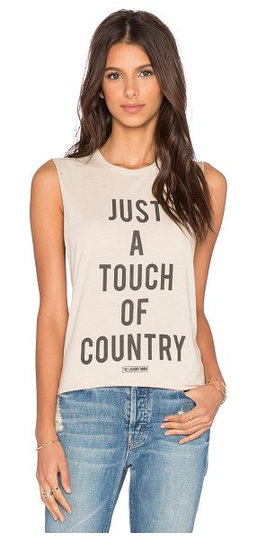 The Laundry Room Touch of country muscle tee in tan - 60% cotton 40% poly. Screen print graphics....
