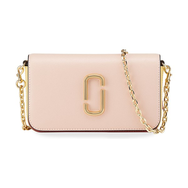 THE MARC JACOBS Colorblock Leather Chain Crossbody Bag in light pink