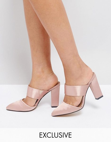 "THE MARCH Blush Satin Heeled Mules - """"Mules by The March, Satin upper, Slip-on style,..."