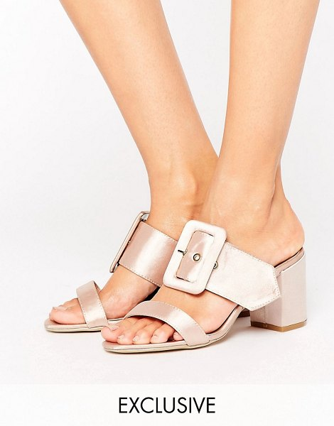 "The March Buckle Mid Heeled Mules in nude - """"Shoes by The March, Smooth textile upper, Metallic..."