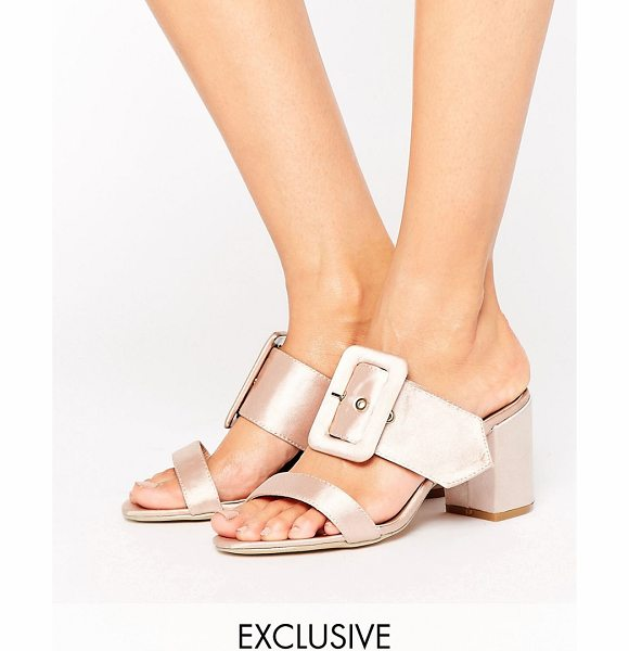 The March Buckle Mid Heeled Mules in pink - Shoes by The March, Smooth textile upper, Metallic rose...