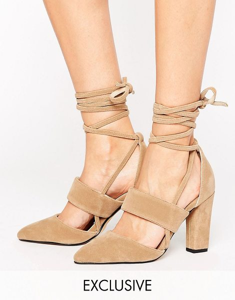 "The March Tie Up Heeled Shoes in tan - """"Heels by The March, Textile upper, Tie fastening,..."
