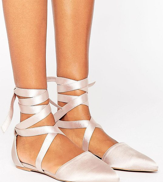 The March Tie Up Point Flat Shoes in beige - Flat shoes by The March, Smooth satin upper, Tie-leg...