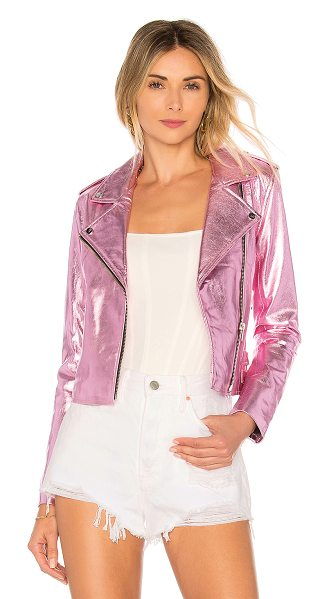 The Mighty Company Lecce the Biker Crop Jacket in pink - Self: 100% lamb leatherLining: 100% rayon. Professional...