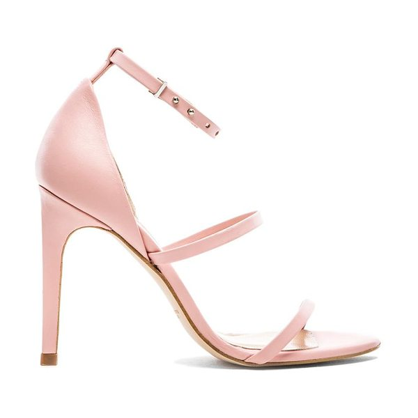 The Mode Collective Triple strap sandal in pink - Leather upper with man made sole. Heel measures approx...