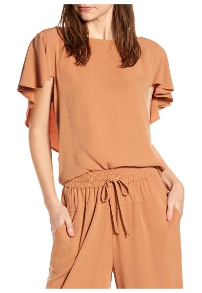 THE ODELLS flounce back top in coral