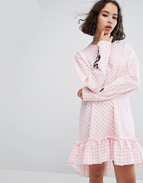 "The Ragged Priest Cottonmouth Frill Hem Dress in pink - """"Casual dress by The Ragged Priest, Lightweight woven..."