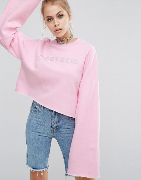 """The Ragged Priest Cropped Sweat And Rhinestone Babygirl Slogan in pink - """"""""Sweatshirt by The Ragged Priest, Soft-touch sweat,..."""