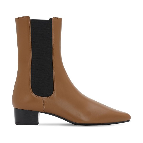The Row 30mm british leather ankle boots in beige