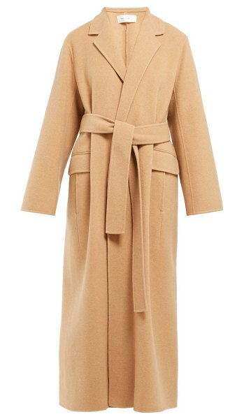 The Row amoy single breasted cashmere blend coat in camel
