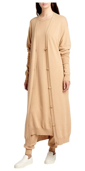 The Row Armando Cashmere Long Cardigan in camel