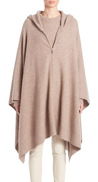 The Row asham knit hooded poncho in dark taupe - Hooded zip-front poncho knit in luxe cashmere blend....