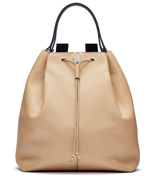 THE ROW Backpack 10 leather hobo bag in beige - Smooth calfskin with palladium hardware. Contrast...