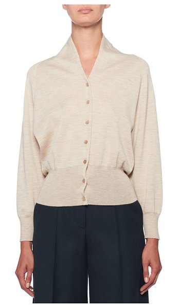 The Row Billi Cashmere Mock-Neck Button-Front Cardigan in light beige