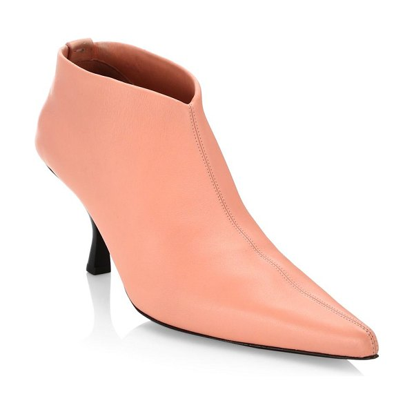 The Row bourgeois leather stretch ankle booties in pale flamingo