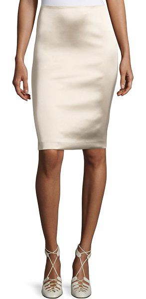 "THE ROW Brenner Satin Pencil Skirt - THE ROW ""Brenner"" skirt in technical satin stretch. Sits..."