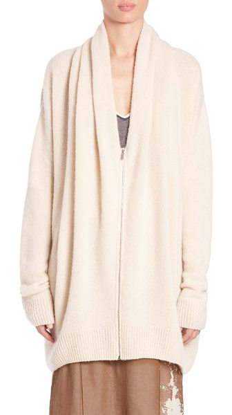 The Row Cashmere & silk mater top in cream - Oversized zip-up knit in soft cashmere and...