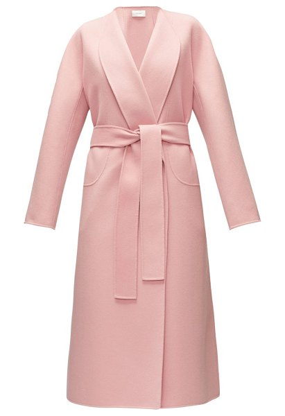The Row celete belted cashmere coat in light pink