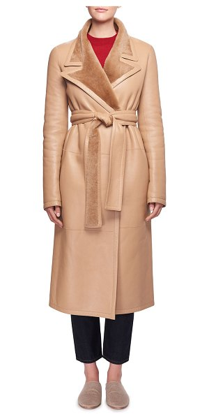 "The Row Cintry Belted Long Leather Coat with Shearling in brown - The Row ""Cintry"" leather coat with dyed lamb shearling..."