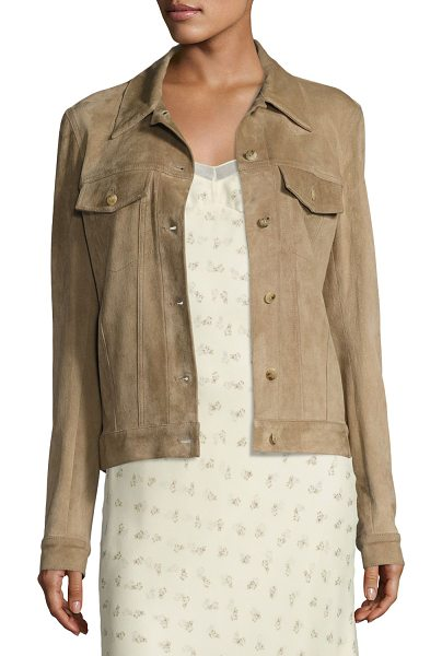 "The Row Coltra Lambskin Leather Jacket in sand - THE ROW ""Coltra"" jacket in soft lambskin leather. Spread..."