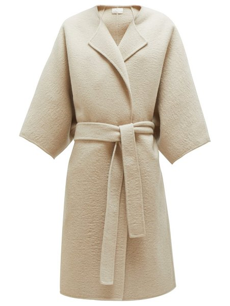 The Row dreeton belted cashmere coat in cream