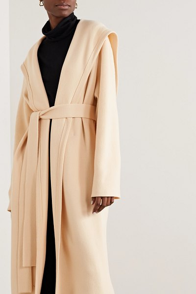 The Row eliona belted hooded merino wool-blend coat in cream