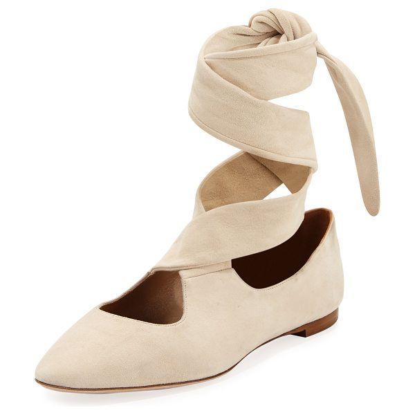 THE ROW Elodie Lace-Up Ballet Flat - THE ROW suede ballerina flat. Flat stacked heel. Round...