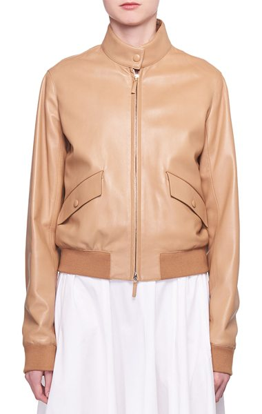The Row Erhly Zip-Front Leather Bomber Jacket in taupe