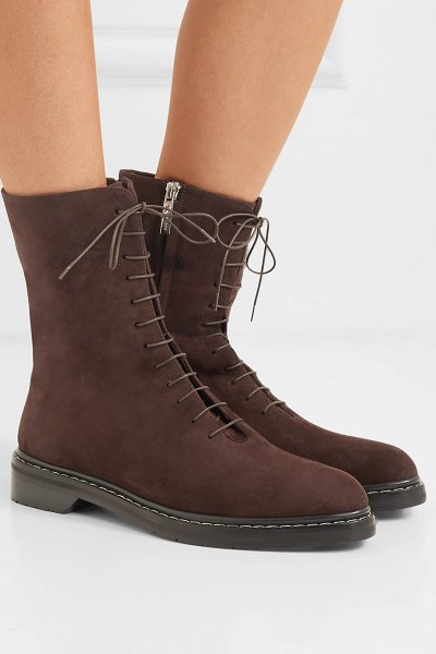 The Row fara suede ankle boots in brown