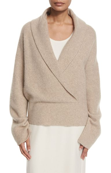 "The Row Fontaine Crossover Sweater in lt taupe melange - THE ROW ""Fontaine"" cashmere-blend sweater. Surplice..."