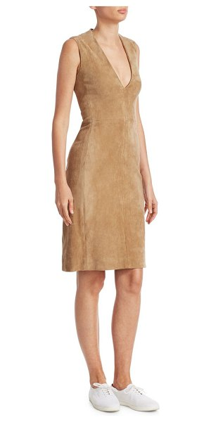 The Row franlan suede mini dress in sand - Versatile silhouette cut from rich suede.V-neck....