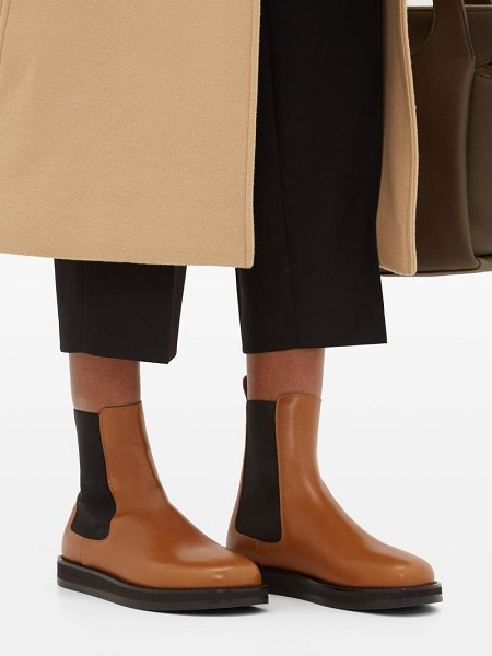 The Row gaia leather chelsea boots in tan