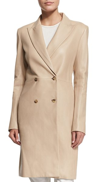 "The Row Gerrick Leather Double-Breasted Coat in soapstone - The Row ""Gerrick"" deerskin leather coat. Approx. length:..."