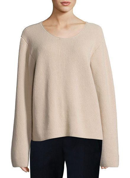 "The Row Grisa Ribbed Scoop-Neck Sweater in flesh - THE ROW ""Grisa"" ribbed knit sweater. Approx. 23""L from..."
