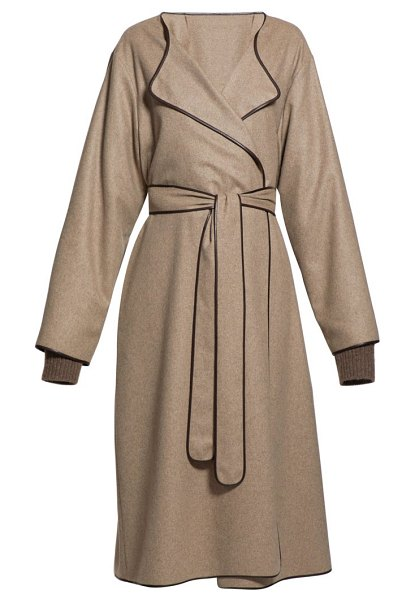 The Row helga belted leather-trim felt coat in light brown