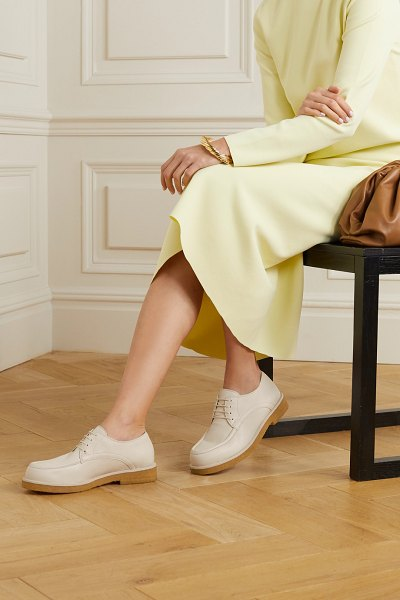 The Row honore textured-leather brogues in cream