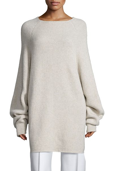 "The Row Kandel oversize cashmere sweater in stone melange - THE ROW ""Kandel"" sweater features shape based on the..."