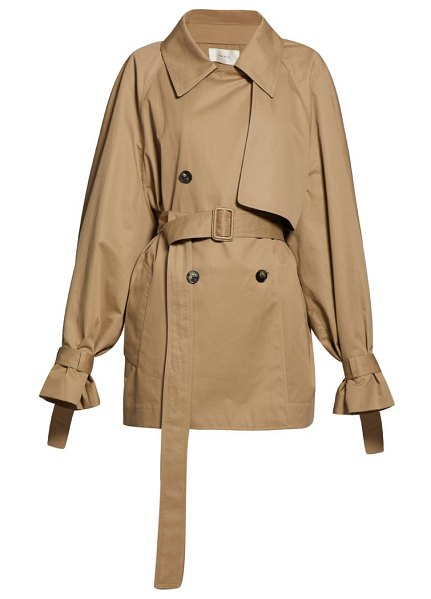 The Row keera belted cotton twill trench coat in beige