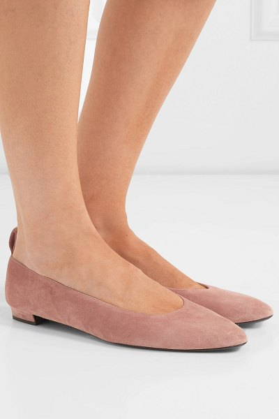 The Row lady d suede ballet flats in pink