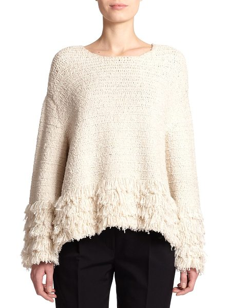 The Row Laina fringed bouclé sweater in natural - Fringed trim enhances the plush look and feel of this...