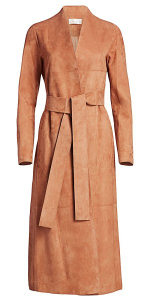 The Row luisa suede coat in clay