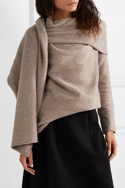 The Row merriah scarf-trimmed mélange cashmere-blend sweater in taupe - The Row constantly proves how the smallest details have...