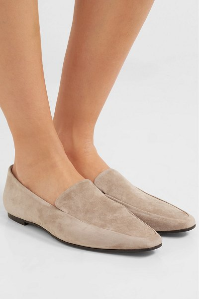 The Row minimal suede loafers in beige