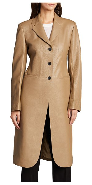 The Row Panois Deerskin Leather Long Coat in camel