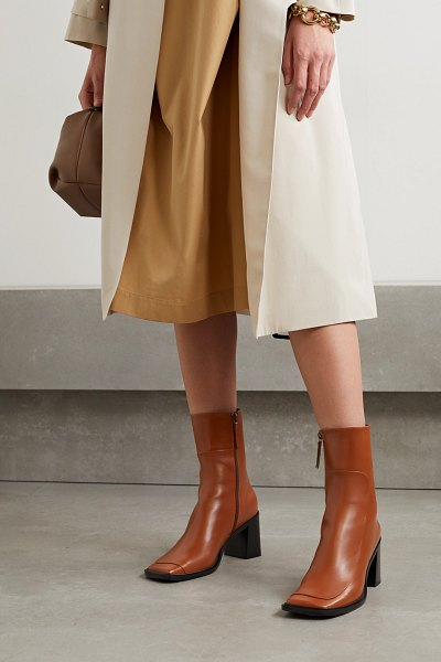 The Row patch paneled leather ankle boots in tan