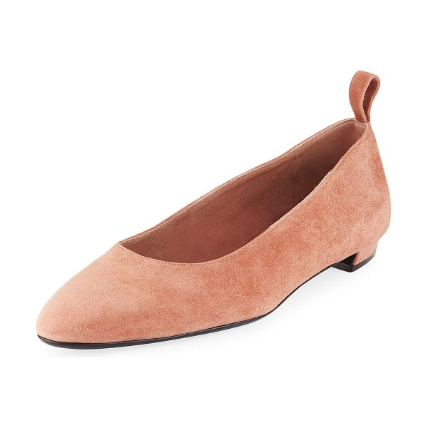The Row Pointed Suede Ballet Flats in pale flamingo